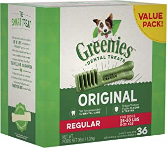 GREENIES Original Regular Dental Dog Treat, Adult, 1kg (36 treats)