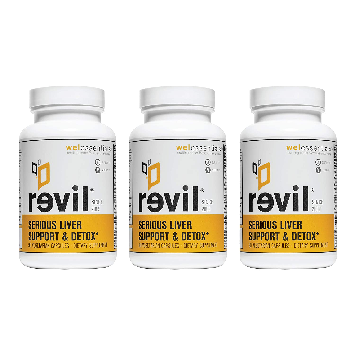 Revil Serious Liver Support Detox by WEL Essentials 90 Capsules – 3 Pack