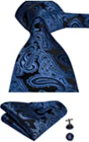 Hi-Tie Mens Navy Blue Plaid Tartan Paisley Solid Silk Tie Pocket Square Cufflinks Neckties Set for Men