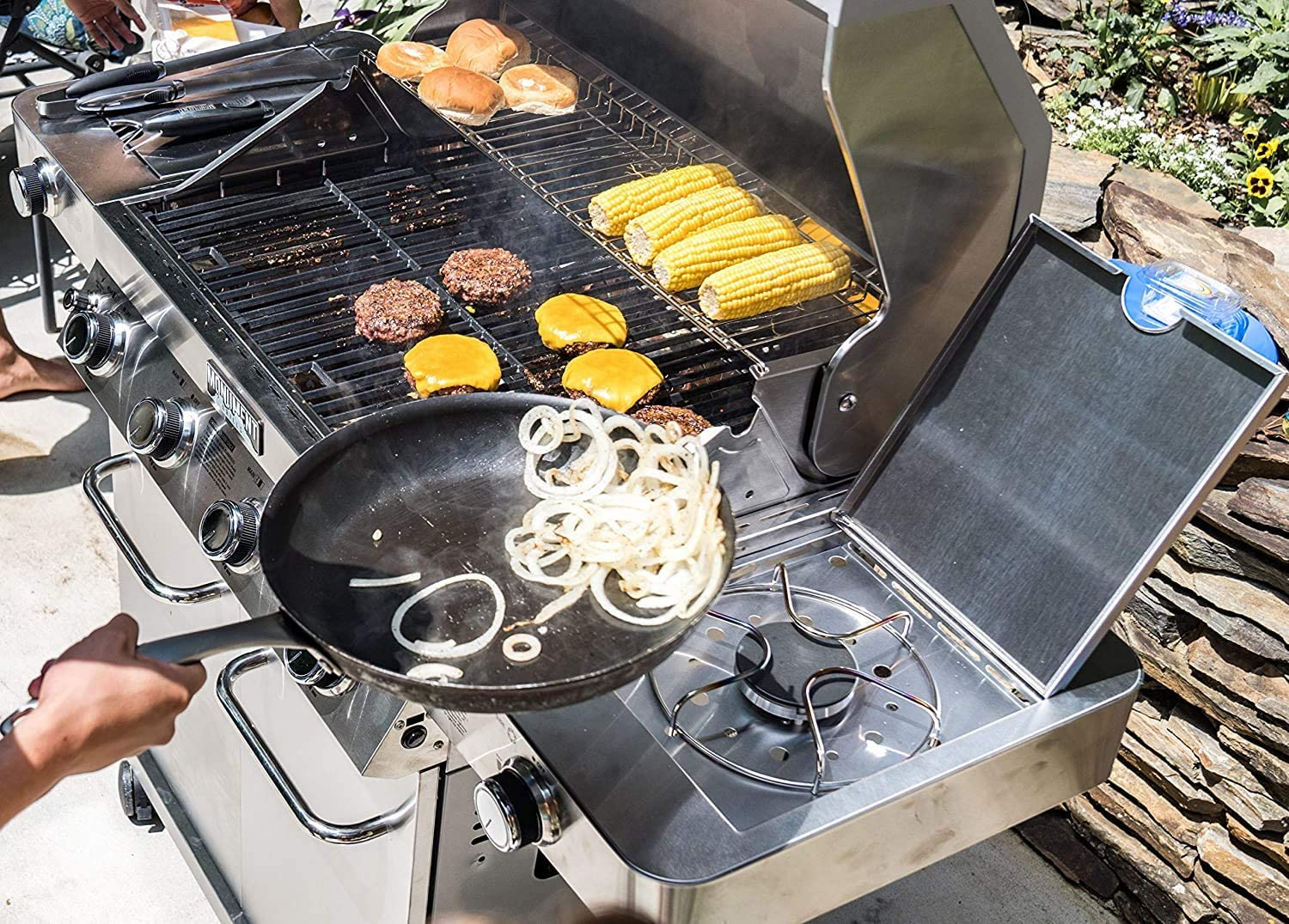 Stainless Monument Grills 4-Burner Propane Gas Grill Side /& Side Sear Burners-24367 LED Controls