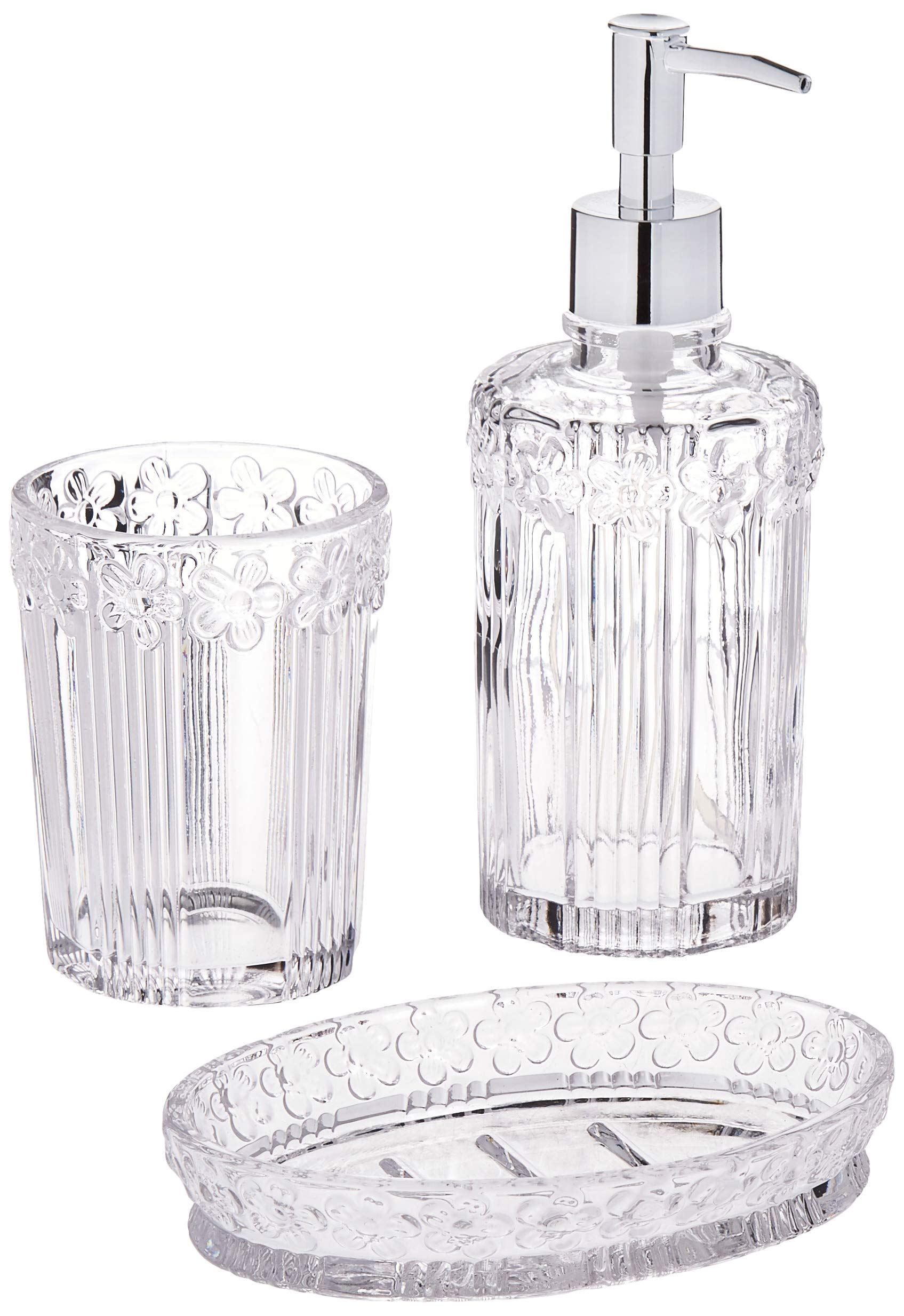 Circleware 32461 Daisy Bath Collection Home Decor Bathroom Accessories, 3-Piece Set of 12 oz Soap Dispenser, 10 oz Tumbler and Soap Dish, Clear by Circleware