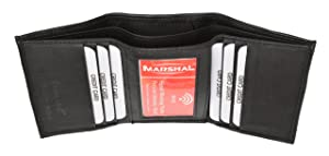 RFID Blocking Premium Leather Men's Slim Classic Trifold Wallet By Marshal