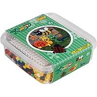 Hama Perlen 8744 strijkkralen doos met ca. 600 kleurrijke maxi knutselkralen met een diameter van 10 mm, stiftplaat…
