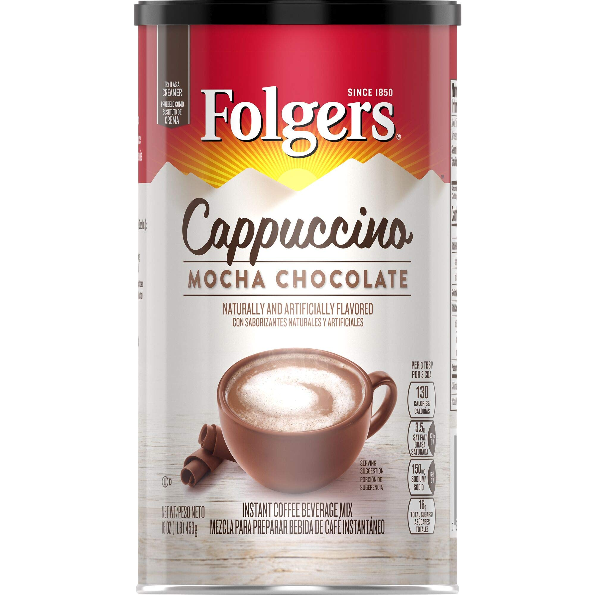 Folgers Cappuccino, Mocha Chocolate Coffee Beverage Mix, 16-Ounces Canisters (Pack of 6), Packaging May Vary by Folgers