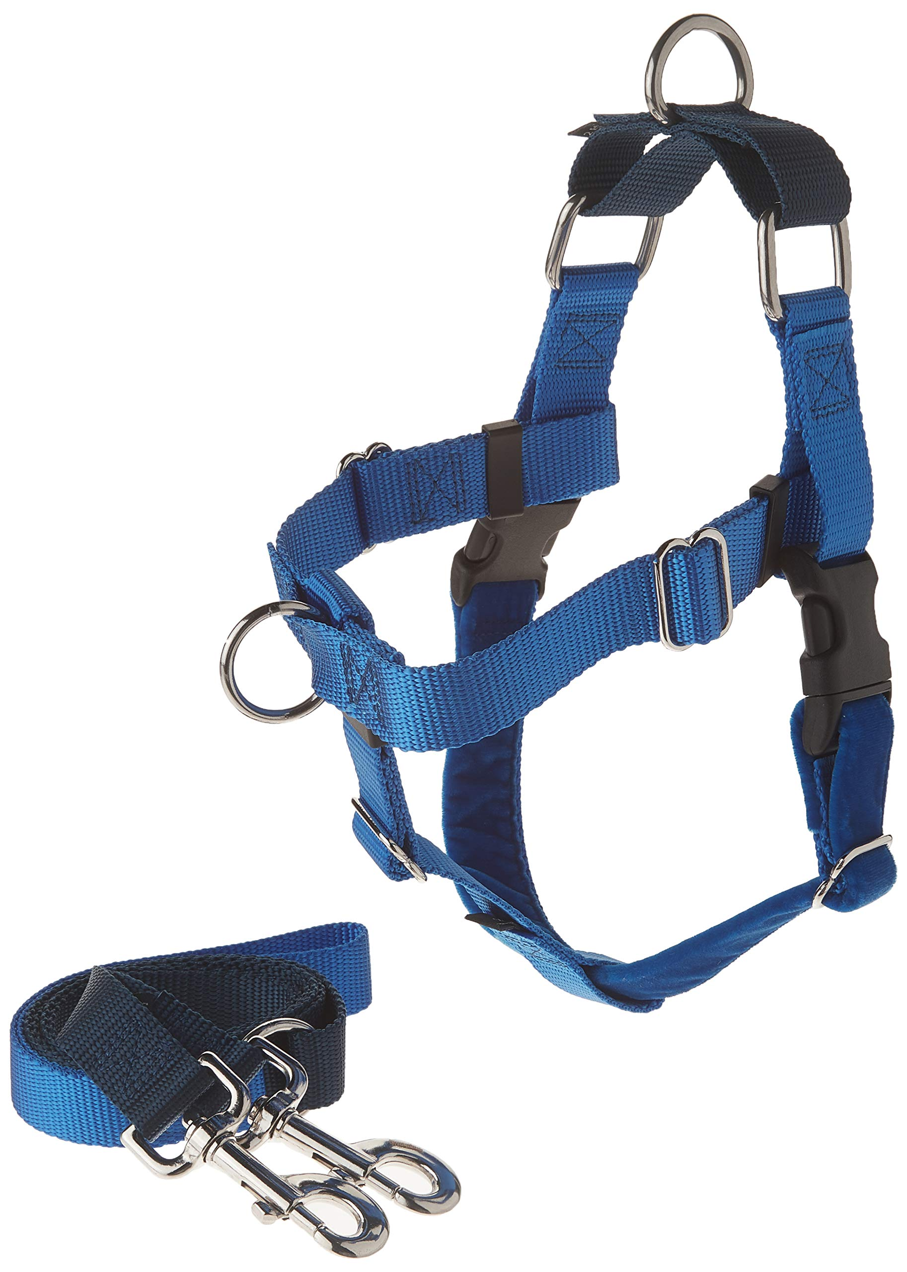 2 Hounds Design Freedom No-Pull Dog Harness and Leash, Adjustable Comfortable Control for Dog Walking, Made in USA (Small 5/8'') (Royal Blue)