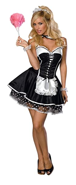 Young teens in french maid costumes commit error