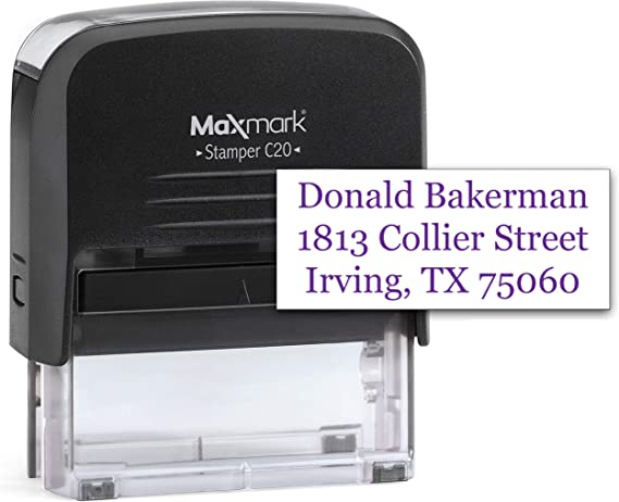 Business Stamp Free Personalization Self-Inking Rubber Stamps Up to Four Lines Eng Home Office Return Address