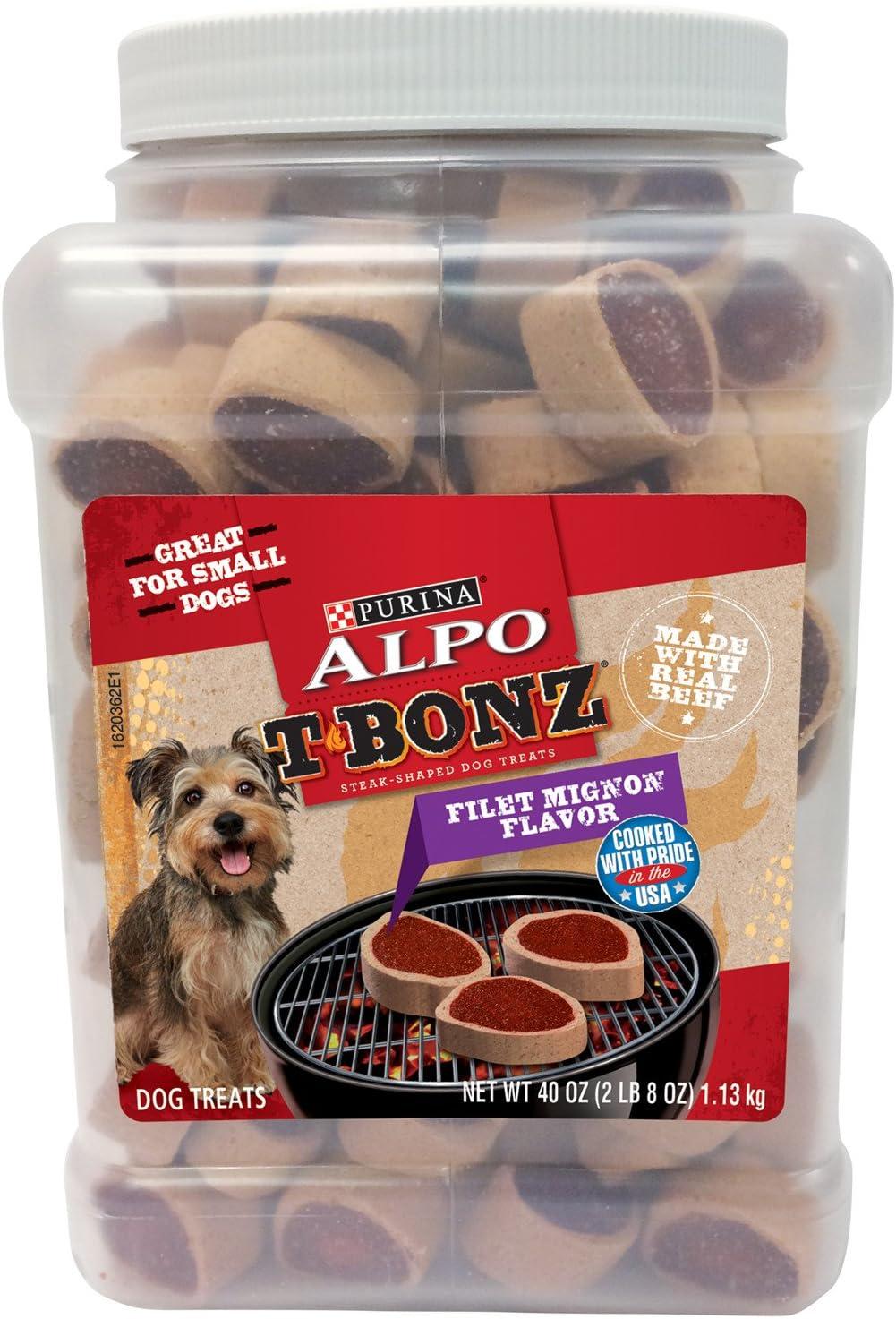 Purina Alpo T Bonz filet mignon  flavor  4.5 Oz 5 Pack Dog treats Food new