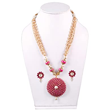 0d816c101 Image Unavailable. Image not available for. Colour  Simaya Fashionista Dark Pink  Colour Pachi Pearls Fashionable Necklace Set With Tops Earrings For Women (