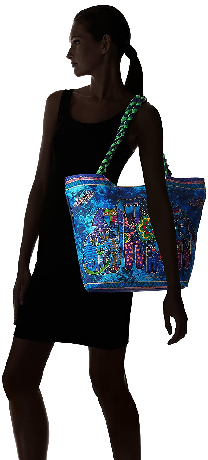19-Inch by 5-Inch by 14-Inch Canine Family Laurel Burch Scoop Tote Zipper Top