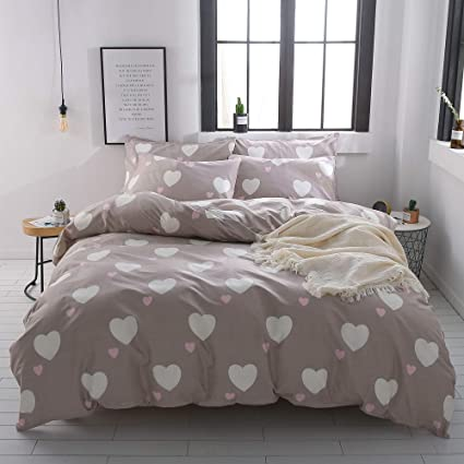 EnjoyBridal Heart Shaped Pattern Teens Bedding Comforter Cover Sets Cotton Queen Bedding Sets For Boys Girls With 2pc Pillow Shams Reversible Kids