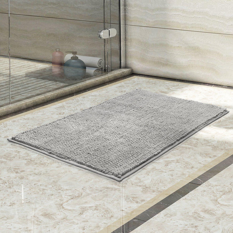 Lifewit 32''x20'' Bath Mat Non Slip Microfiber Shaggy Chenille Bath Rugs Bathroom Shower Mats Rug Gray by Lifewit (Image #6)