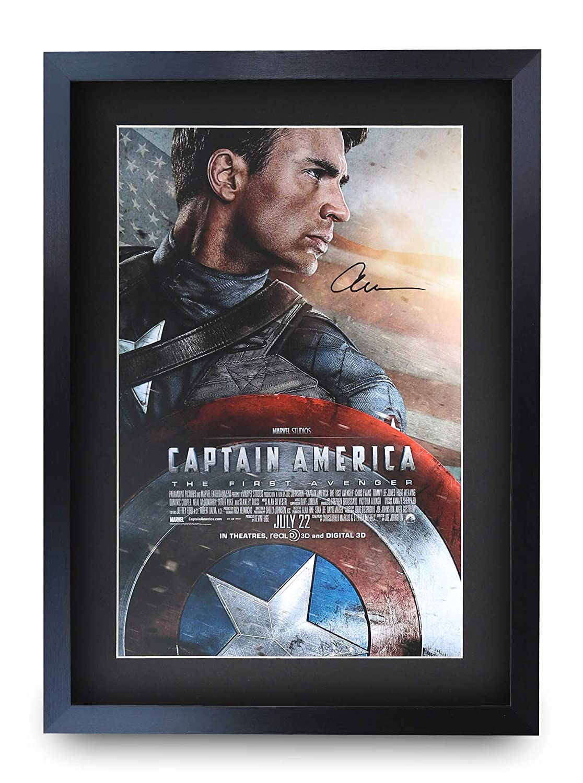 HWC Trading Captain America A3 Incorniciato Firmato Regalo Visualizzazione delle Foto Print Immagine Autografo Stampato per Chris Evans Fan Movie Poster