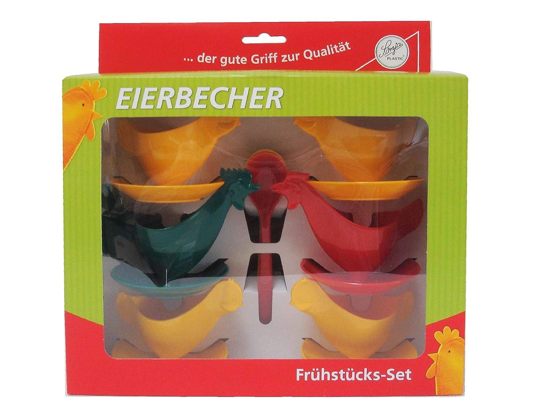 Fr/ühst/ücks-Set H/ühnerfamilie Kulteierbecher Sonja-PLASTIC Made in Germany