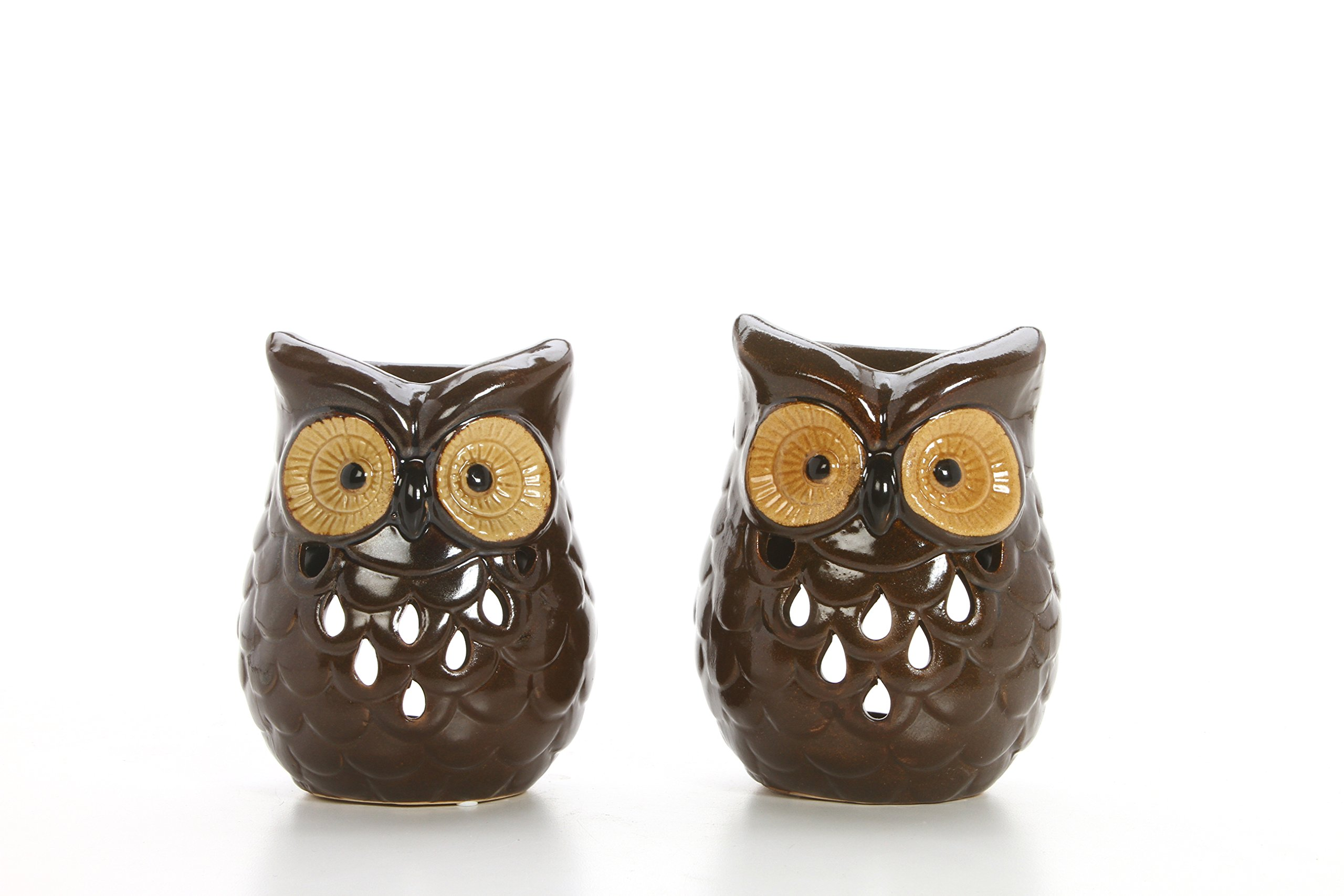 Hosley Set of 2 Ceramic Owl Oil Warmers - 4.9'' High. Use Brand Essential and Fragrance Oils. Ideal Gift for Wedding, Spa, Aromatherapy, Reiki, Votive Candle Garden O9