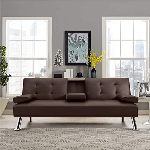 JUMMICO Futon Sofa Bed Faux Leather Couch Bed Modern Convertible Folding Recliner with 2 Cup Holders for Living Room Brown