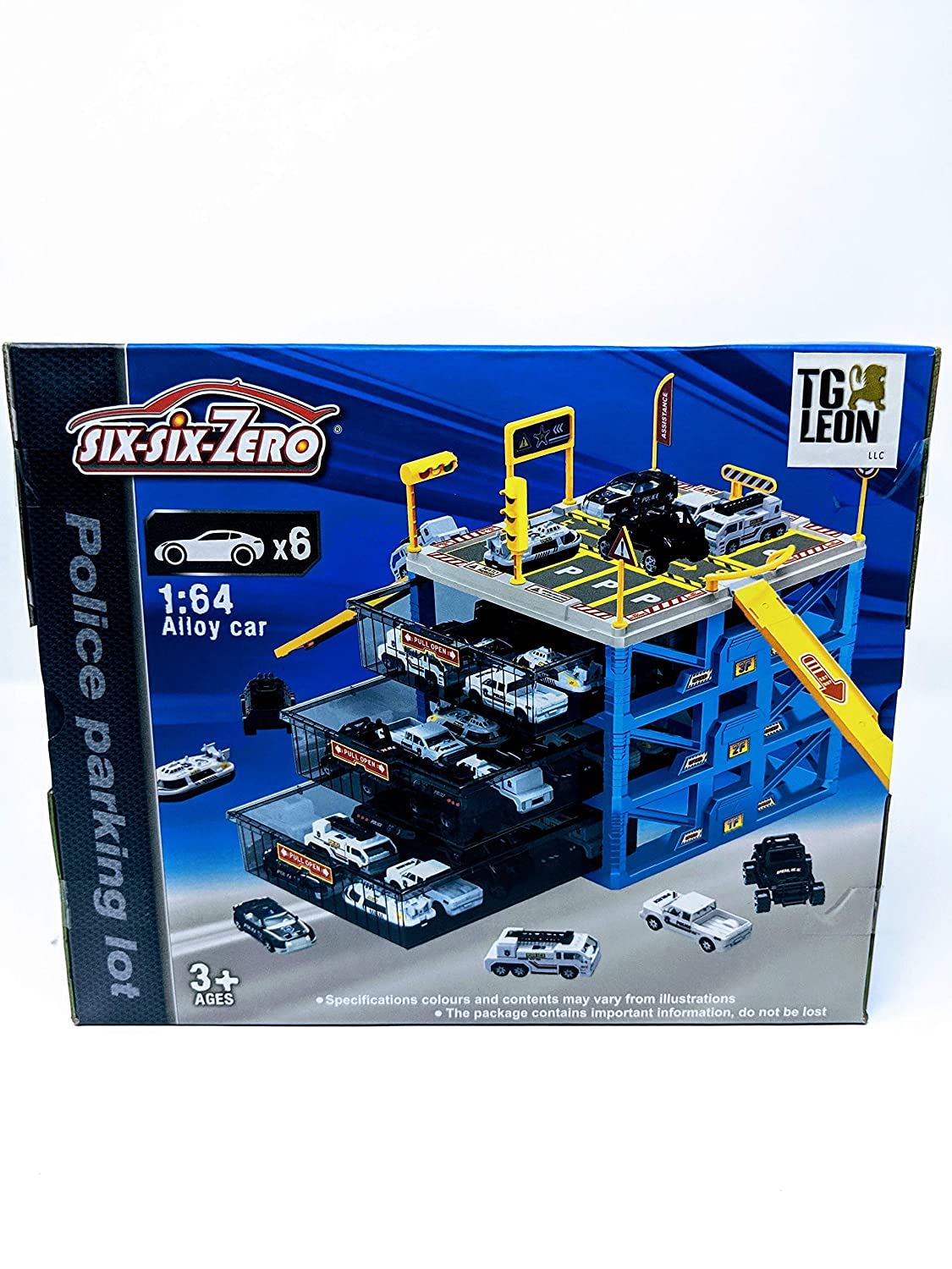 Portable Parking Garage >> Leon S Toys Police Parking Lot Garage 6 Cars Included Car Portable Storage For Hotwheels And Matchbox