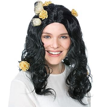 dressforfun Peluca de Bruja Calavera para Mujer | Calaveras y Flores Artificiales Decoración | Negro de Pelo Medio: Amazon.es: Juguetes y juegos