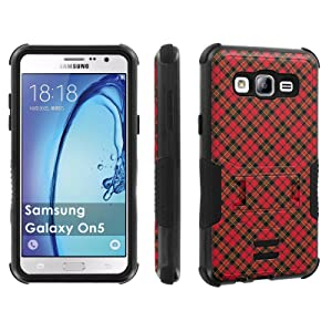 Galaxy [On5] Tough Case [Skinguardz] [Black/Black] ShockProof Armor [Kick Stand] - [Red Plaid] for Samsung Galaxy [On5]