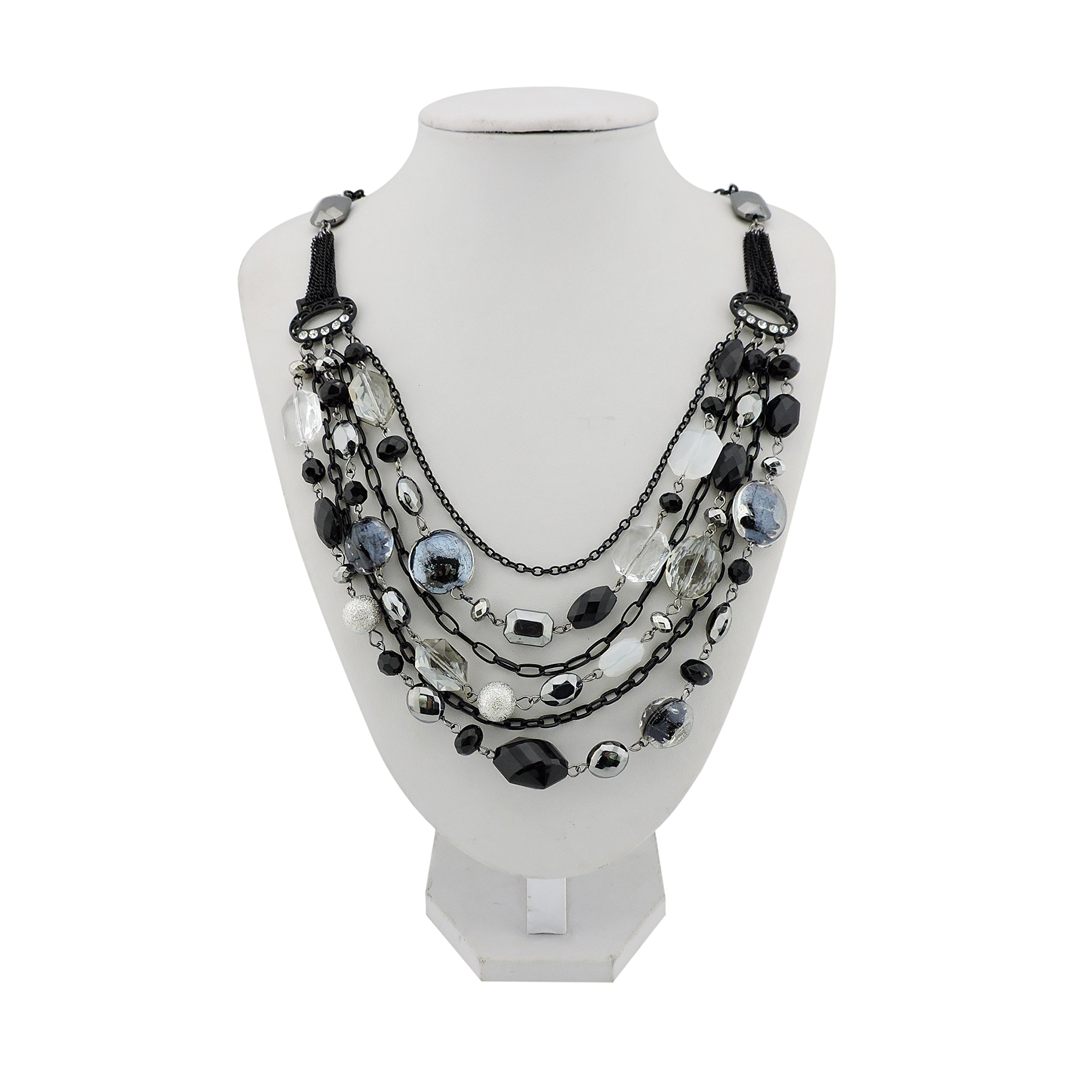 Bocar Newest Multi Layer Chain Crystal Colored Glaze Statement Women Necklace (black)