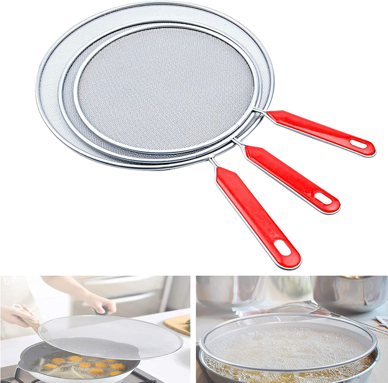 Super Fine Mesh Iron Skillet Lid for Kitchen Frying Pan Cooking Supplies 3 Pieces Grease Splatter Screen For Frying Pan Cooking 7.5in, 8.3in, 10in Stainless Steel Grease Splatter Guard