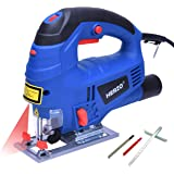HERZO Electric Jigsaw Laser Guide 800W 丨Variable Speed Control, Rip Guide, 2 Wood Blades, Vacuum Adaptor and Allen Wrench