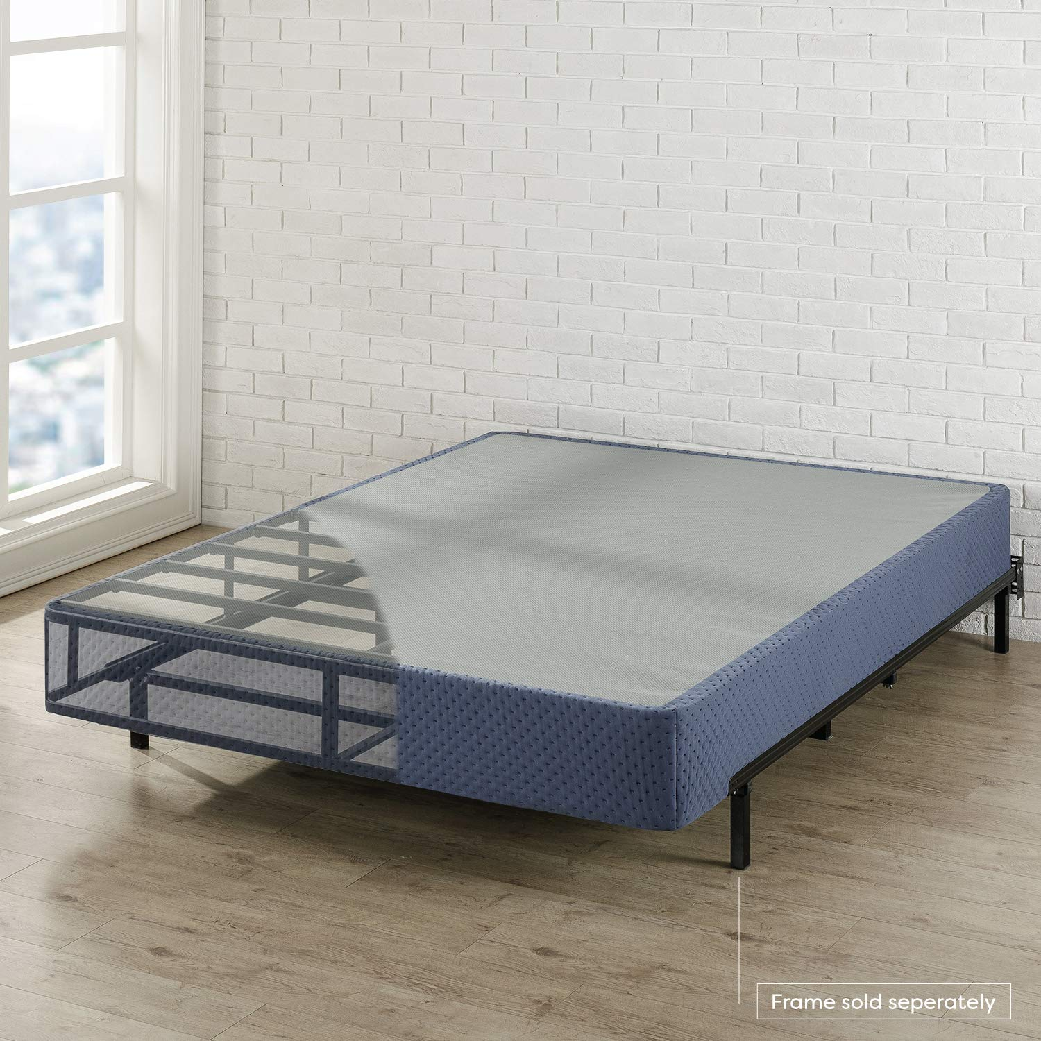 Best Price Mattress Twin Box Spring 9'' High Profile with with Heavy Duty Steel Slat Mattress Foundation Fits Standard Bed Frame, Navy