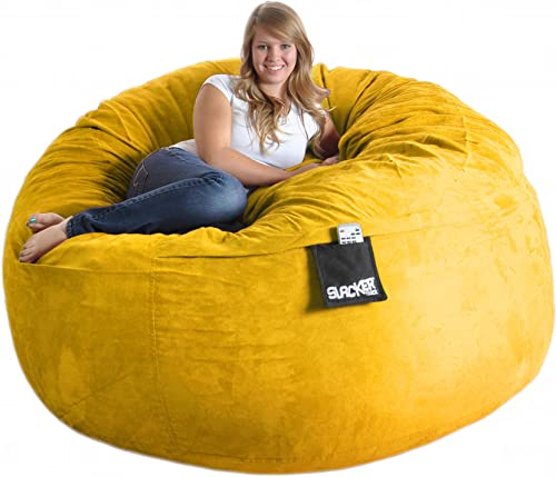 SLACKER sack 6 Round Yellow Foam Beanbag Chair Huge Microsuede Cover Lemon XL