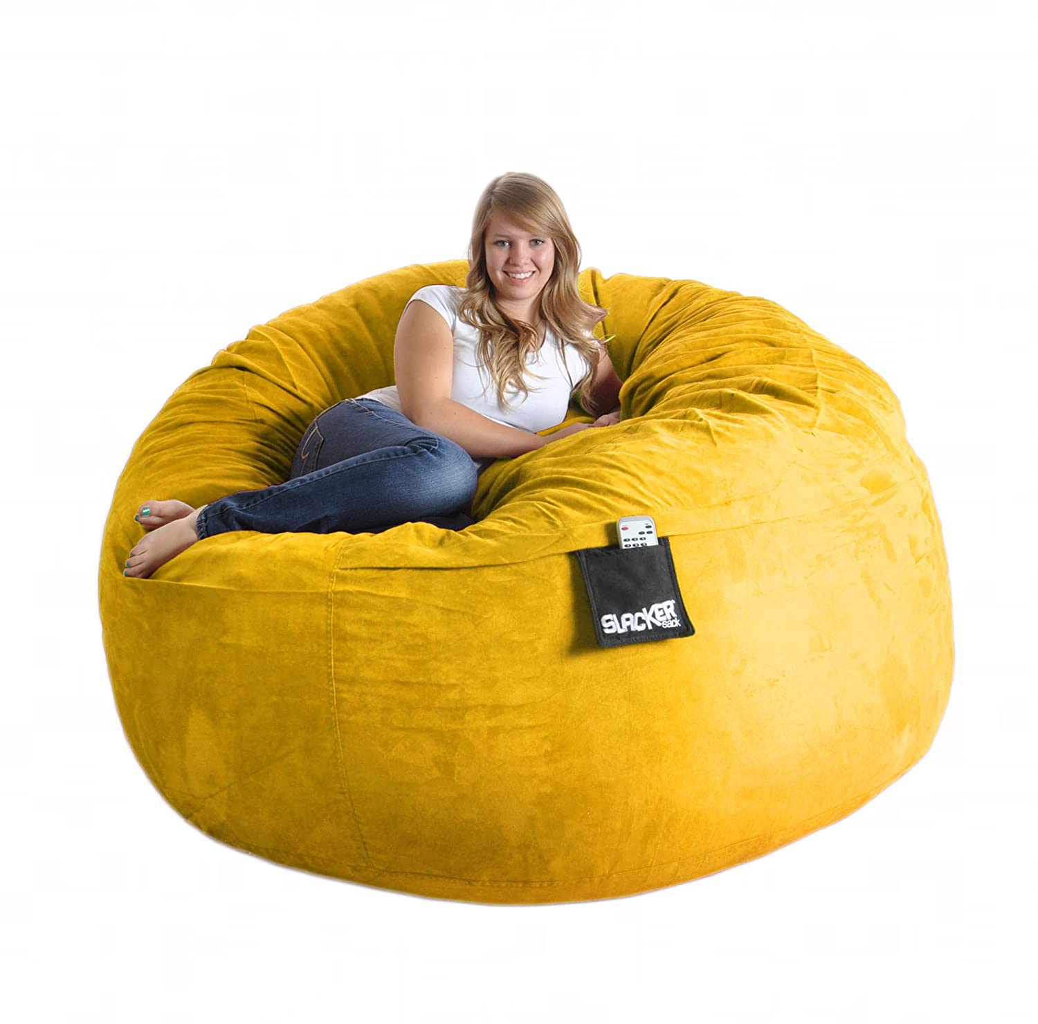 Giant bean bag chairs for adults - Amazon Com 6 Round Yellow Foam Beanbag Chair Huge Slacker Sack Microsuede Cover Lemon Xl Kitchen Dining