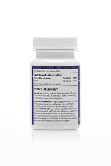 Amazon.com: Biotin 10,000mcg   120 Tablets   May support healthy hair and nails   100% money back guarantee   Manufactured in the UK: Health & Personal Care