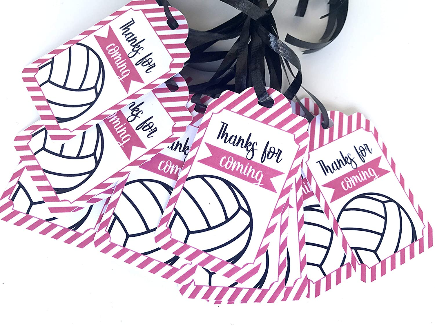 Pink Volleyball Thank You Tags 12pcs Girl Team Themed Baby Shower Birthday Party Decorations Supplies