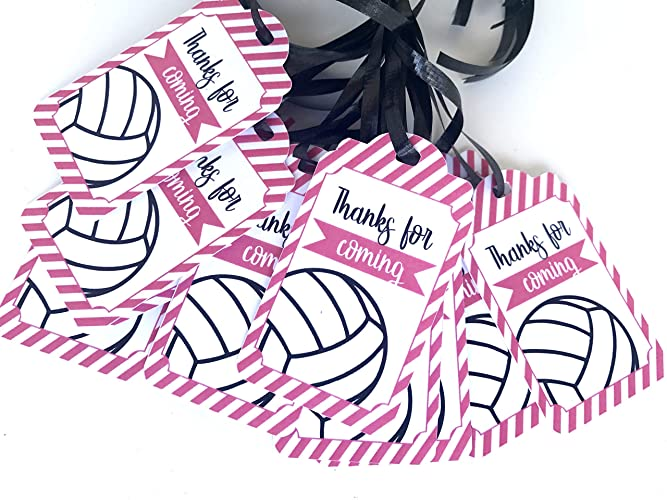 Amazon Com Pink Volleyball Thank You Tags 12pcs Baby Shower