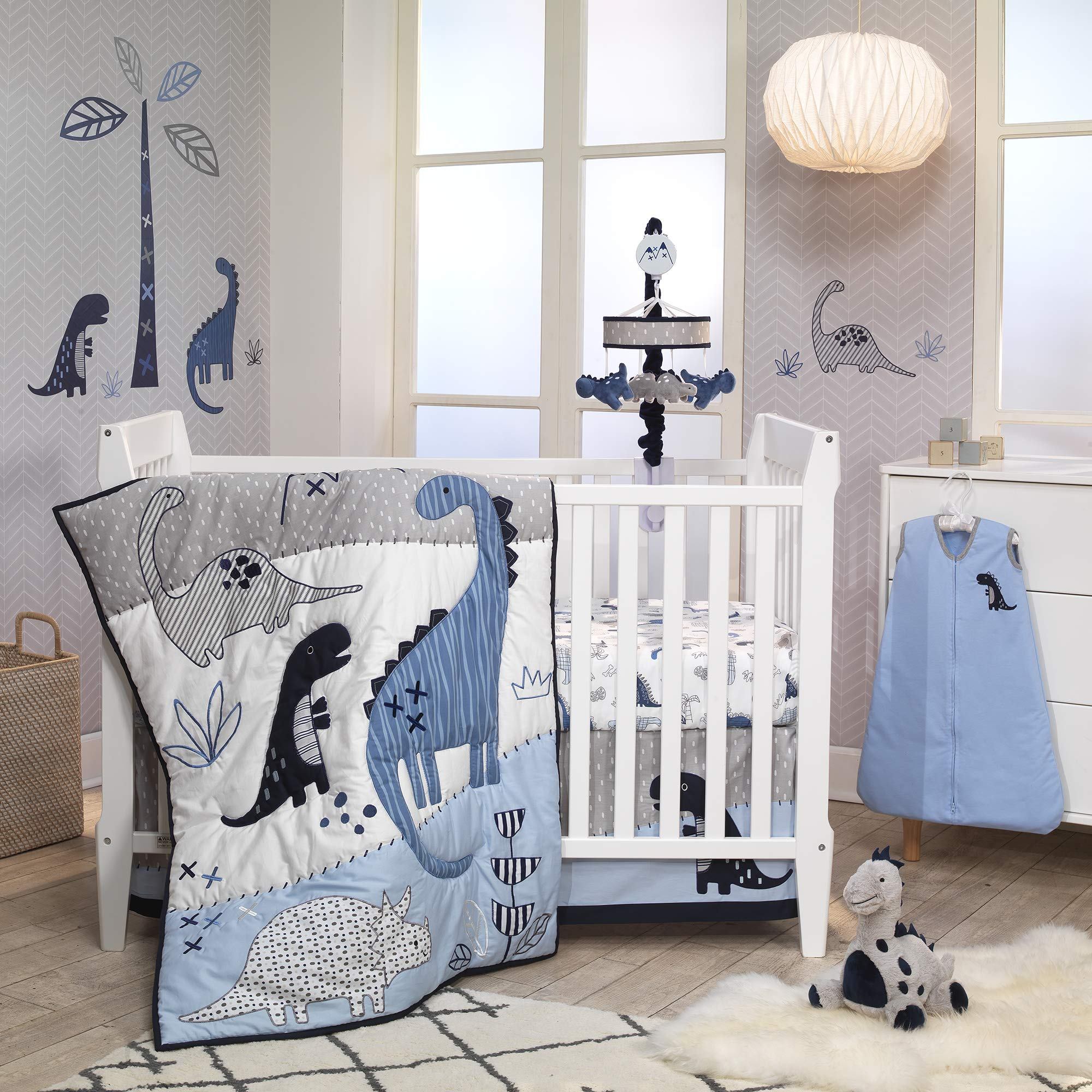 Lambs & Ivy Baby Dino Blue/White Dinosaur Nursery 6-Piece Crib Bedding Set by Lambs & Ivy