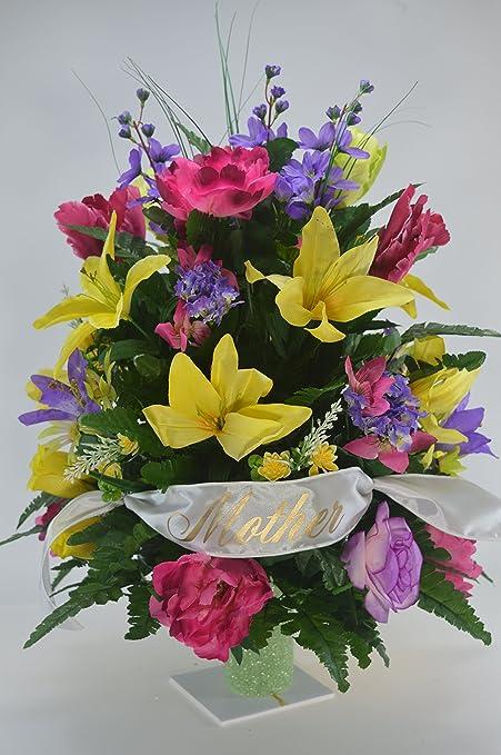 Amazon 3126 mix flower cemetery flower spring cone flower 3126 mix flower cemetery flower spring cone flower cone arrangement grave tombstone mightylinksfo