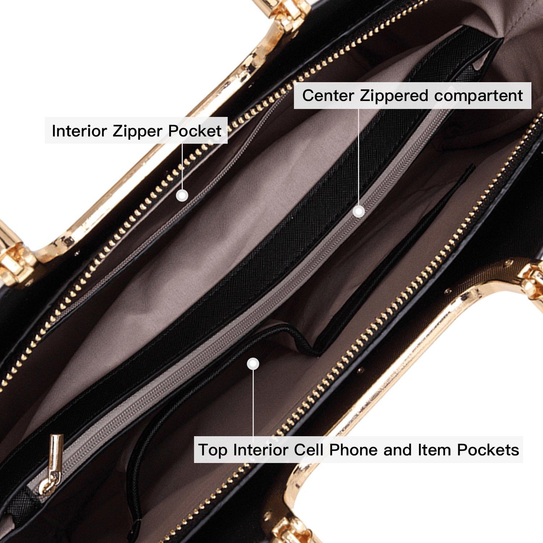 Dasein Designer Purse Stripes Satchel Handbag PU Leather Purse Top Handle Handbags (XL2828 stripe 2PCs- Black/White) by Dasein (Image #6)