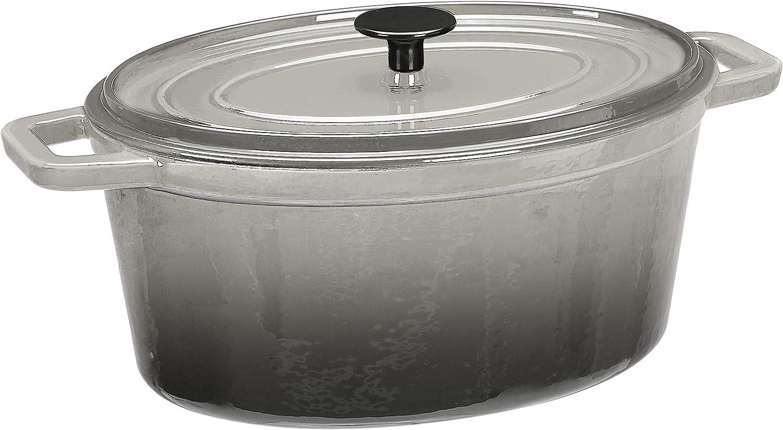 AmazonBasics Z4715MGY Premium Enameled Cast Iron Oval Dutch Oven, 6-Quart, Deep Grey