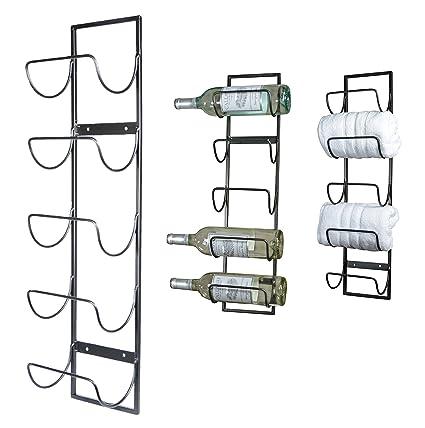 5 Bottle Wall Mounted Metal Wine Rack Towel