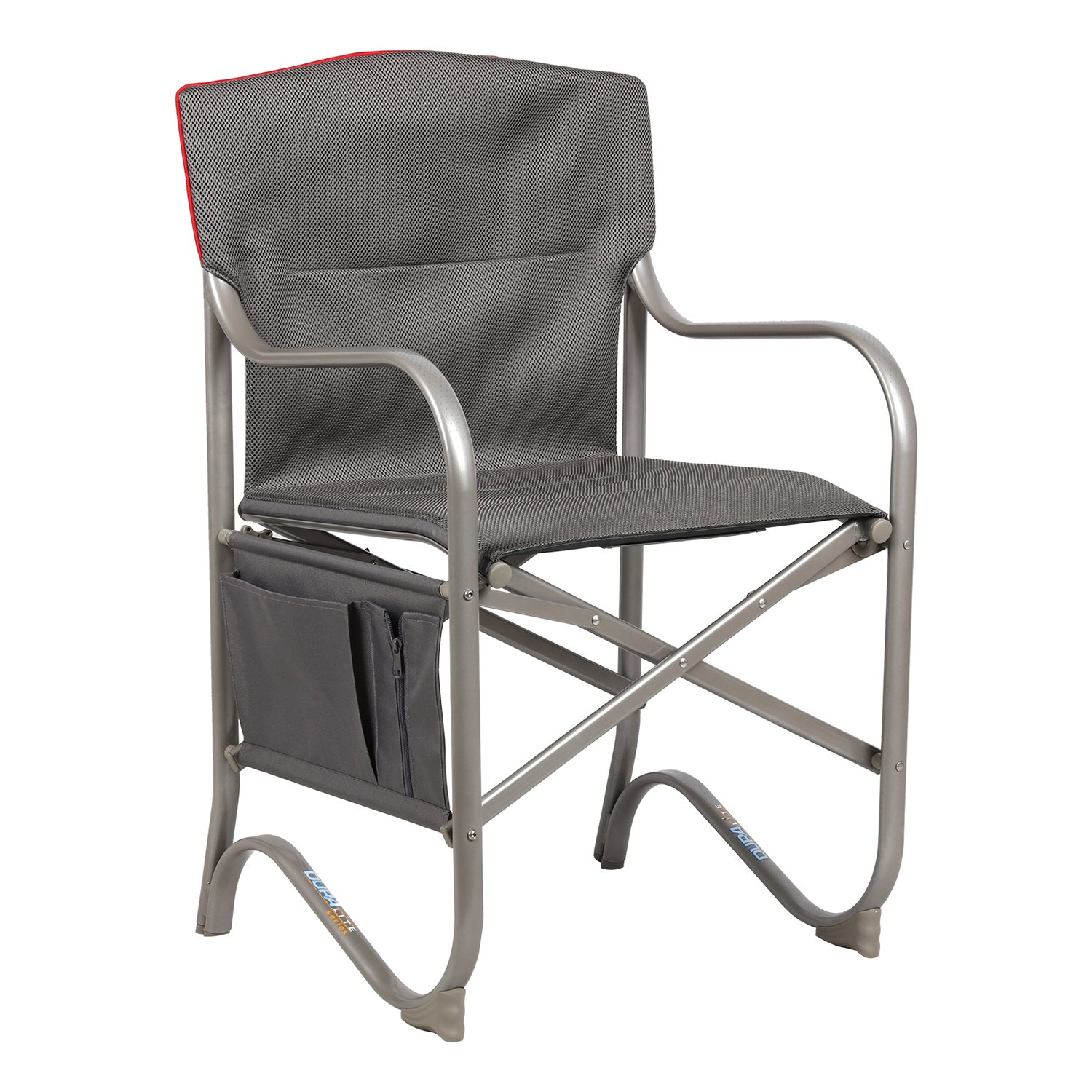 PORTAL Duralite Ultralight Folding Director's Chair Portable Breathable Full Back Camping Sports Chair with Decent Side Pockets Gray by PORTAL