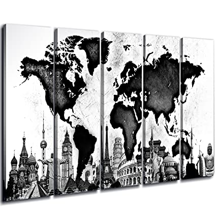 Black And White World Map Framed.Amazon Com Sunfrower World Map Posters Wall Art Decor Huge Wood
