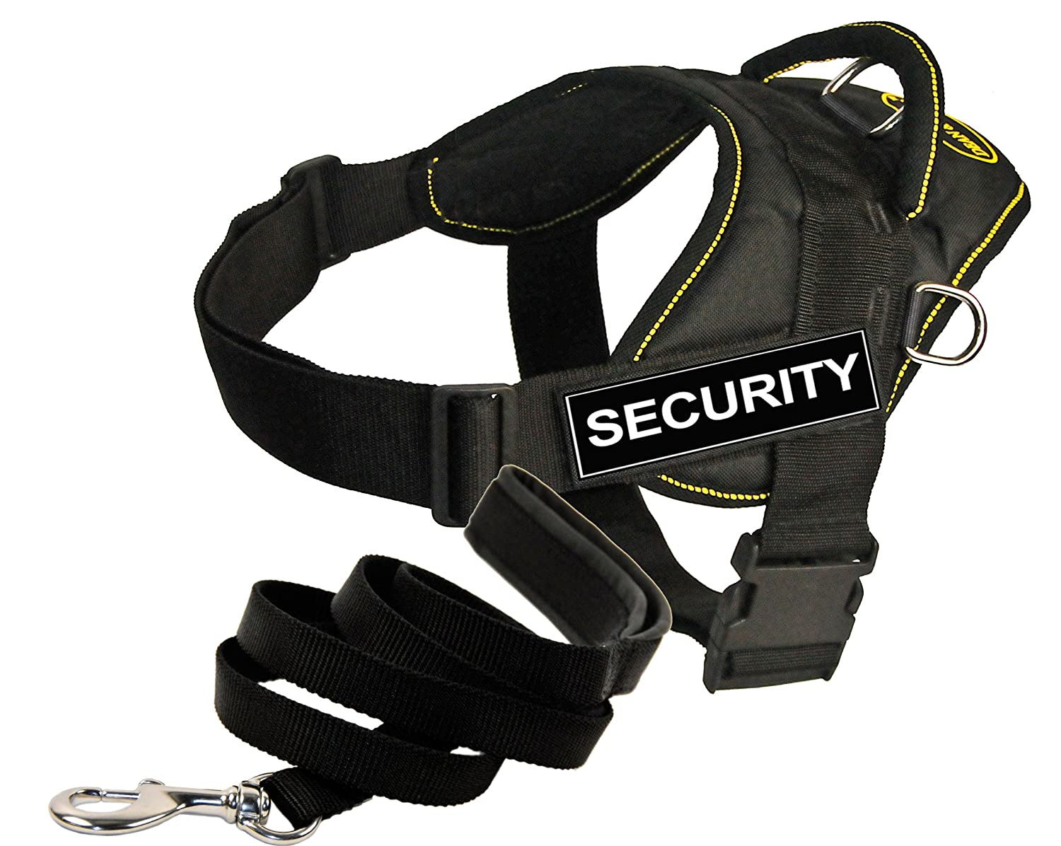 Dean and Tyler Bundle One DT Fun Works  Harness, Security, Yellow Trim, X-Large (34  47 ) + One Padded Puppy  Leash, 6 FT Stainless Snap Black