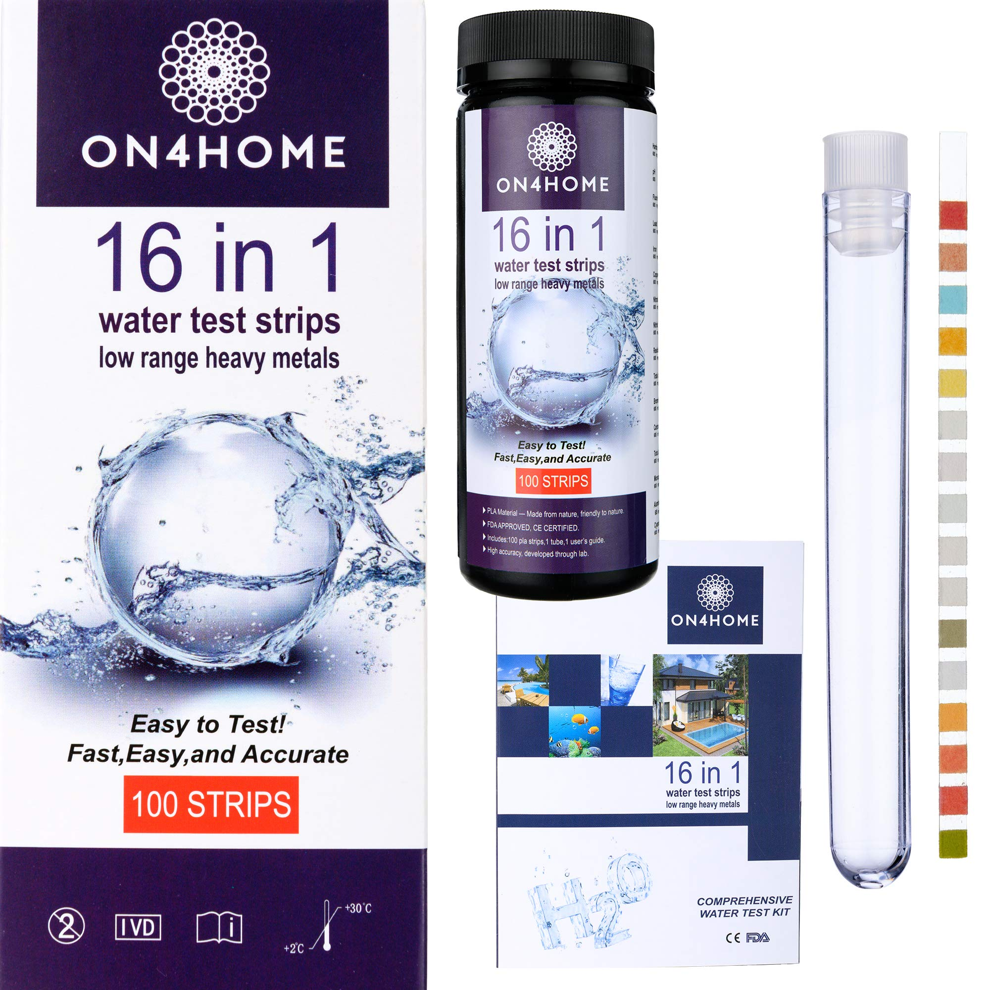 16-in-1 Water Test Strips by ON4HOME - HIGH Fidelity Water Test Kit ■ 60 Seconds Testing to Detect Hardness, Lead, Ph, Flouride, Mercury, Copper, Nitrates, Nitrites, Alkalinity, Aluminium and More by ON 4 HOME