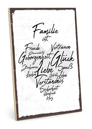 TypeStoff Holzschild mit Spruch – Familie IST – im Vintage-Look mit Zitat  als Geschenk und Dekoration zum Thema Zuhause, Vertrauen und Zusammenhalt  ...