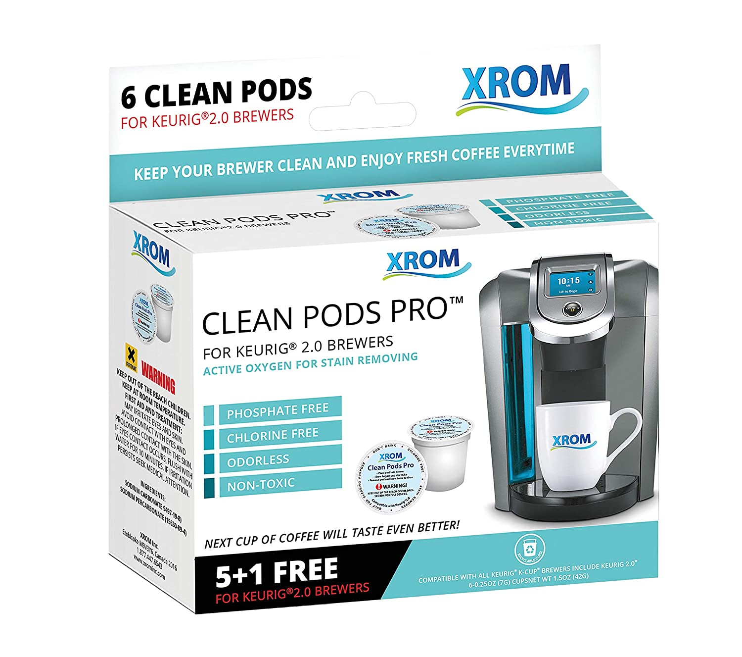 XROM Professional Cleaning Pods Compatible with All Keurig K-Cup 2.0 Brewers, Coffee Stain Removing, Non Toxic, Biodegradable, 6 per Pack.