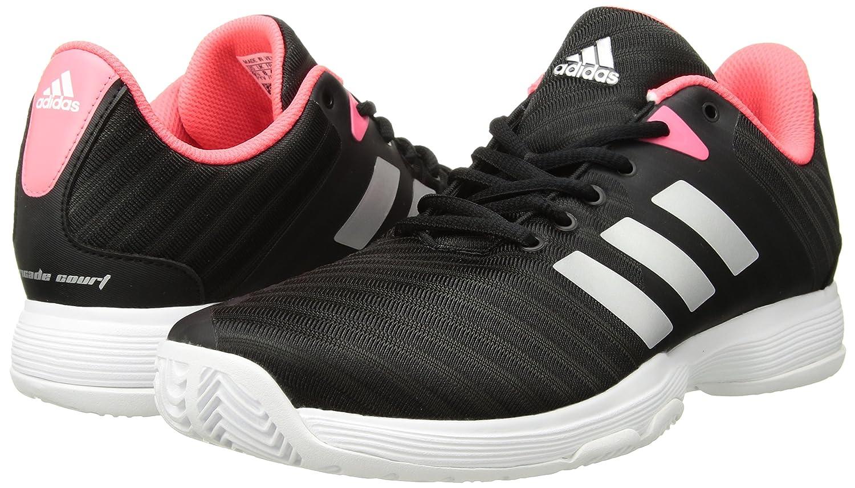 adidas Women's Barricade Court Tennis Shoes B077X5C3XK 10.5 B(M) US|Black/Matte Silver/Flash Red