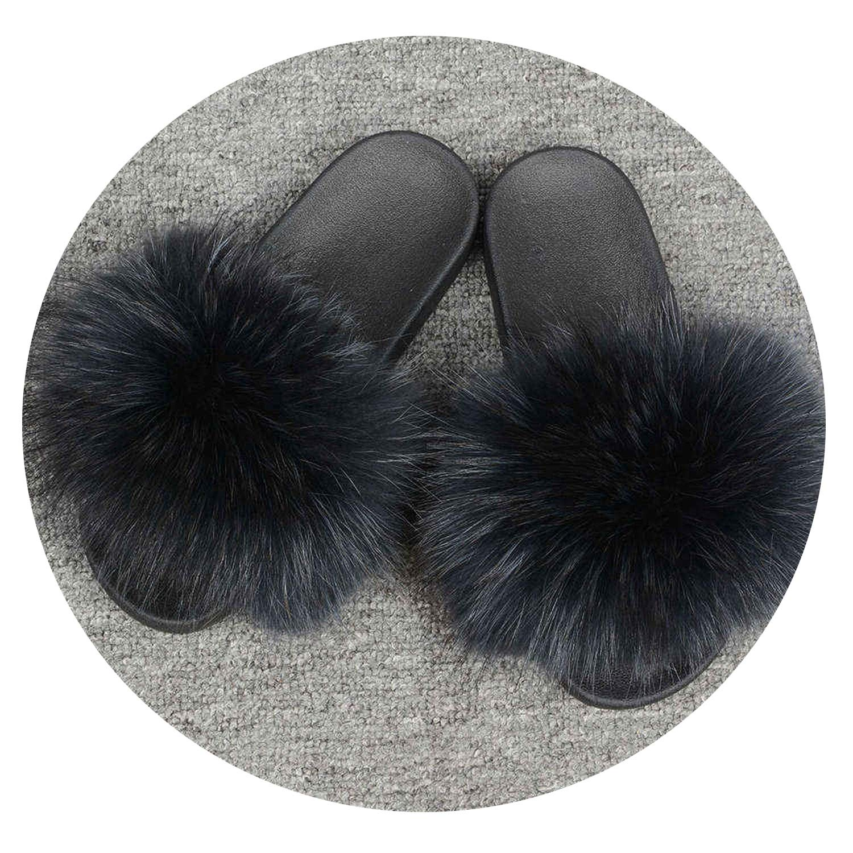 Womens Fur Slipper Real Raccoon Fur Fashion Style Furry Slides Soft Warm Big Fluffy Fur Shoes S6020E,Raccoon Black,34