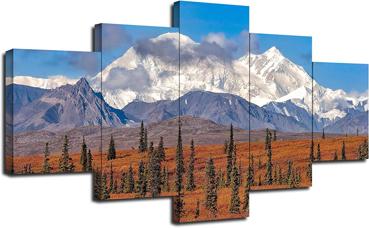 Denali National Park Mount McKinley Landscape Wall Decor America Alaska Wall Art Picture Canvas Print Poster Painting Framed Living Room Decoration 5 Panel Ready to Hang(60''Wx32''H)