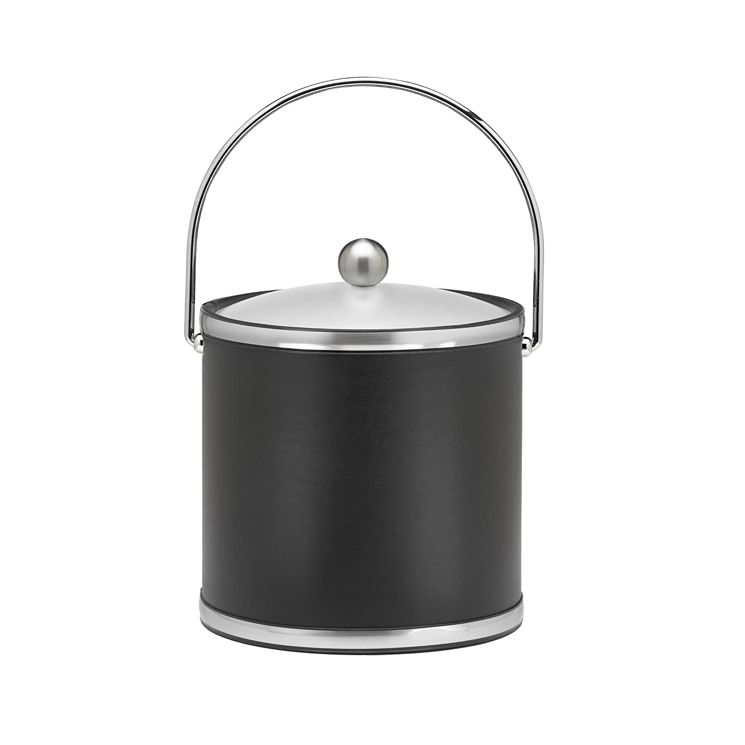 Amazon.com: Kraftware Brushed Chrome Ice Bucket With Bale Handle And Metal  Cover, Black   3 Quart: Ice Buckets Insulated With Lids: Kitchen U0026 Dining