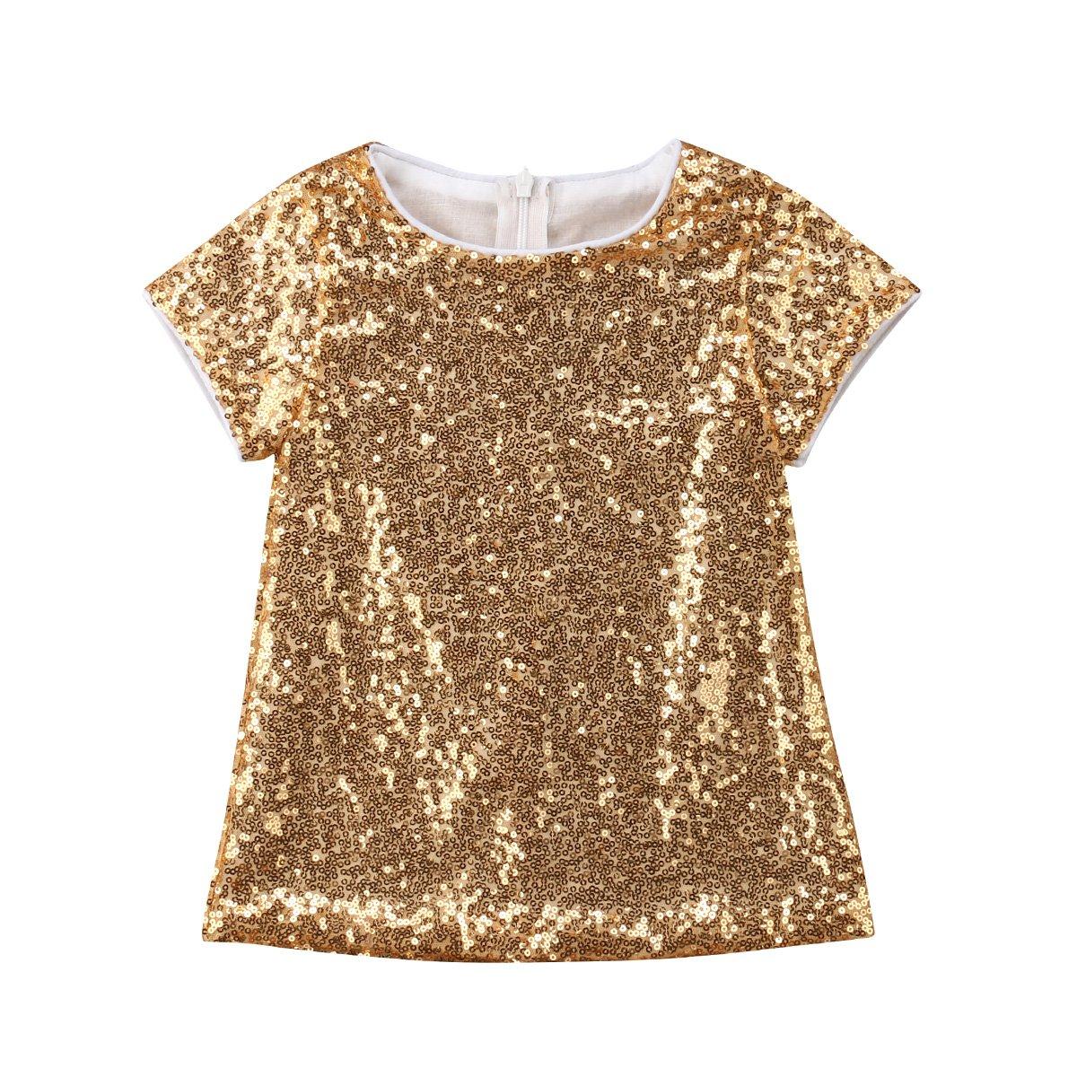129f9aff26e9 Amazon.com  YAZAD Toddler Kid Baby Girl Gold Sequins Dress Short ...