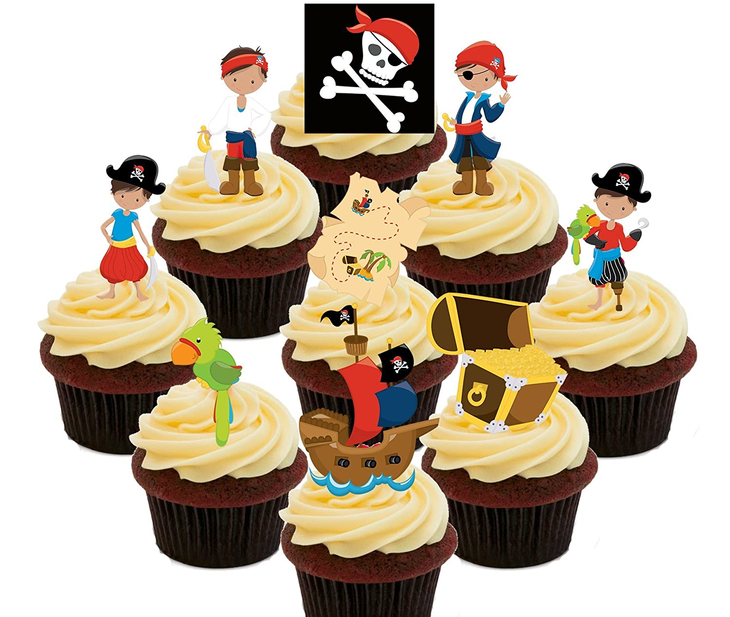 Pirates Party Pack, Kids\' Edible Cupcake Toppers - Stand-up Wafer ...