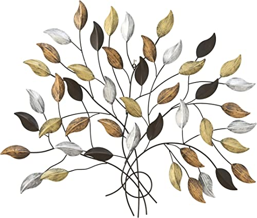 WHW Whole House Worlds Tree of Life, Wall Art, Silver, Gold and Copper Leaves with Brown Branches, Artisan Crafted, Distressed Rubbed Rustic Finish, Lacquered Iron, 40 1 2 Wide x 35 3 4 Inches Tall